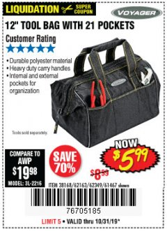 "Harbor Freight Coupon 12"" TOOL BAG Lot No. 61467/62163/62349 Expired: 10/31/19 - $5.99"