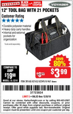 "Harbor Freight Coupon 12"" TOOL BAG Lot No. 61467/62163/62349 Expired: 12/8/19 - $3.99"
