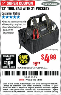 "Harbor Freight Coupon 12"" TOOL BAG Lot No. 61467/62163/62349 Expired: 1/5/20 - $4.99"