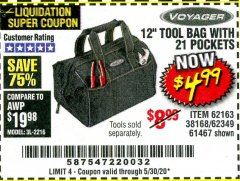 "Harbor Freight Coupon 12"" TOOL BAG Lot No. 61467/62163/62349 Expired: 6/30/20 - $4.99"