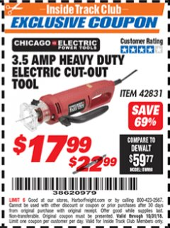Harbor Freight ITC Coupon 3.5 AMP HEAVY DUTY ELECTRIC CUTOUT TOOL Lot No. 42831 Expired: 10/31/18 - $17.99