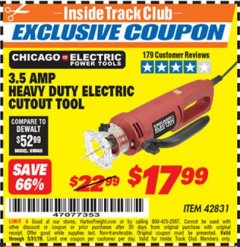 Harbor Freight ITC Coupon 3.5 AMP HEAVY DUTY ELECTRIC CUTOUT TOOL Lot No. 42831 Expired: 5/31/19 - $17.99