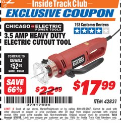 Harbor Freight ITC Coupon 3.5 AMP HEAVY DUTY ELECTRIC CUTOUT TOOL Lot No. 42831 Expired: 8/31/19 - $17.99