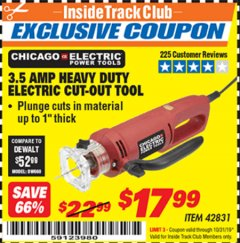 Harbor Freight ITC Coupon 3.5 AMP HEAVY DUTY ELECTRIC CUTOUT TOOL Lot No. 42831 Expired: 10/31/19 - $17.99