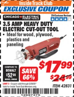 Harbor Freight ITC Coupon 3.5 AMP HEAVY DUTY ELECTRIC CUTOUT TOOL Lot No. 42831 Valid: 2/1/20 - 2/29/20 - $17.99