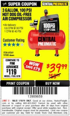 Harbor Freight ITC Coupon 3 GALLON 100 PSI OILLESS HOT DOG STYLE AIR COMPRESSOR Lot No. 97080/69269 Expired: 1/10/19 - $39.99