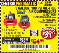 Harbor Freight Coupon 3 GALLON 100 PSI OILLESS HOT DOG STYLE AIR COMPRESSOR Lot No. 97080/69269 Expired: 10/8/18 - $39.99