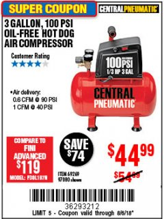 Harbor Freight Coupon 3 GALLON 100 PSI OILLESS HOT DOG STYLE AIR COMPRESSOR Lot No. 97080/69269 Expired: 8/6/18 - $44.99