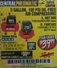 Harbor Freight Coupon 3 GALLON 100 PSI OILLESS HOT DOG STYLE AIR COMPRESSOR Lot No. 97080/69269 Expired: 11/1/18 - $39.99