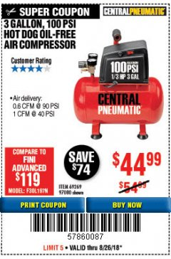 Harbor Freight Coupon 3 GALLON 100 PSI OILLESS HOT DOG STYLE AIR COMPRESSOR Lot No. 97080/69269 Expired: 8/26/18 - $44.99