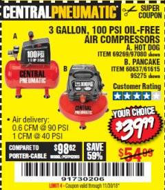 Harbor Freight Coupon 3 GALLON 100 PSI OILLESS HOT DOG STYLE AIR COMPRESSOR Lot No. 97080/69269 Expired: 11/30/18 - $39.99