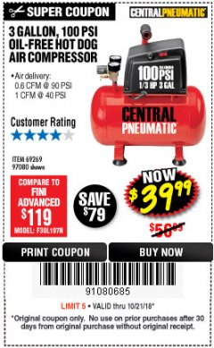Harbor Freight Coupon 3 GALLON 100 PSI OILLESS HOT DOG STYLE AIR COMPRESSOR Lot No. 97080/69269 Expired: 10/21/18 - $39.99