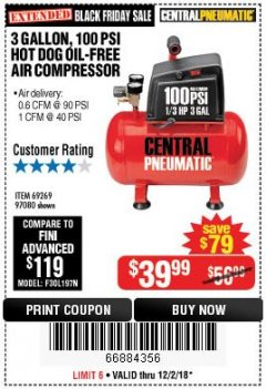 Harbor Freight Coupon 3 GALLON 100 PSI OILLESS HOT DOG STYLE AIR COMPRESSOR Lot No. 97080/69269 Expired: 12/2/18 - $39.99