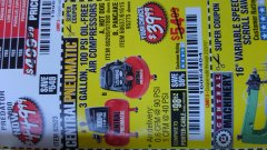 Harbor Freight Coupon 3 GALLON 100 PSI OILLESS HOT DOG STYLE AIR COMPRESSOR Lot No. 97080/69269 Expired: 2/23/19 - $39.99