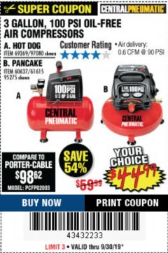 Harbor Freight Coupon 3 GALLON 100 PSI OILLESS HOT DOG STYLE AIR COMPRESSOR Lot No. 97080/69269 Expired: 9/30/19 - $44.99