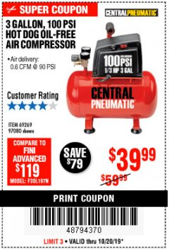 Harbor Freight Coupon 3 GALLON 100 PSI OILLESS HOT DOG STYLE AIR COMPRESSOR Lot No. 97080/69269 Expired: 10/20/19 - $39.99