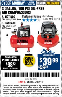 Harbor Freight Coupon 3 GALLON 100 PSI OILLESS HOT DOG STYLE AIR COMPRESSOR Lot No. 97080/69269 Expired: 12/2/19 - $39.99