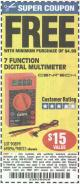 Harbor Freight FREE Coupon 7 FUNCTION DIGITAL MULTIMETER Lot No. 30756 Expired: 1/24/16 - FWP