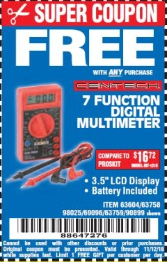 Harbor Freight FREE Coupon 7 FUNCTION DIGITAL MULTIMETER Lot No. 30756 Expired: 11/12/18 - FWP