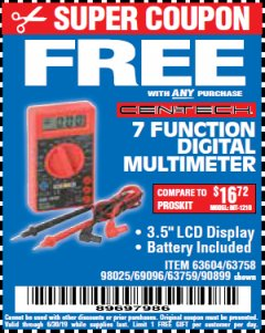 Harbor Freight FREE Coupon 7 FUNCTION DIGITAL MULTIMETER Lot No. 30756 Expired: 6/30/19 - FWP