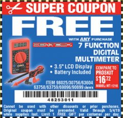 Harbor Freight FREE Coupon 7 FUNCTION DIGITAL MULTIMETER Lot No. 30756 Expired: 5/4/19 - FWP