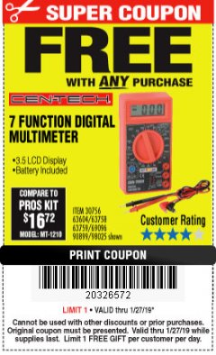 Harbor Freight FREE Coupon 7 FUNCTION DIGITAL MULTIMETER Lot No. 30756 Expired: 1/27/19 - FWP