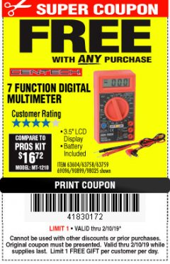 Harbor Freight FREE Coupon 7 FUNCTION DIGITAL MULTIMETER Lot No. 30756 Expired: 2/10/19 - FWP