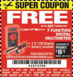 Harbor Freight FREE Coupon 7 FUNCTION DIGITAL MULTIMETER Lot No. 30756 Expired: 6/15/19 - FWP