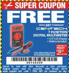 Harbor Freight FREE Coupon 7 FUNCTION DIGITAL MULTIMETER Lot No. 30756 Expired: 8/5/19 - FWP