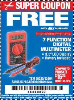 Harbor Freight FREE Coupon 7 FUNCTION DIGITAL MULTIMETER Lot No. 30756 Expired: 8/23/19 - FWP