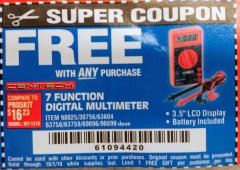 Harbor Freight FREE Coupon 7 FUNCTION DIGITAL MULTIMETER Lot No. 30756 Expired: 10/1/19 - FWP