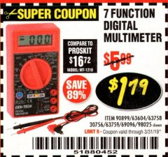 Harbor Freight Coupon 7 FUNCTION DIGITAL MULTIMETER Lot No. 30756 Expired: 3/31/19 - $1.79