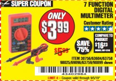 Harbor Freight Coupon 7 FUNCTION DIGITAL MULTIMETER Lot No. 30756 Expired: 9/5/19 - $3.99
