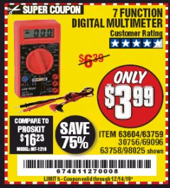 Harbor Freight Coupon 7 FUNCTION DIGITAL MULTIMETER Lot No. 30756 Expired: 12/14/19 - $3.99