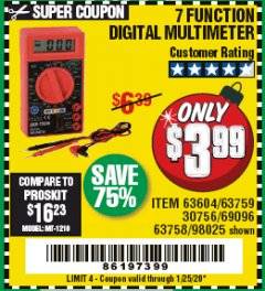 Harbor Freight Coupon 7 FUNCTION DIGITAL MULTIMETER Lot No. 30756 Expired: 1/25/20 - $3.99