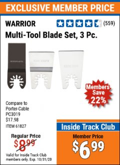 Harbor Freight ITC Coupon 3 PIECE MULTI-TOOL BLADE SET Lot No. 61827/65979/68966 Valid: 10/1/20 - 10/31/20 - $6.99