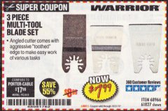 Harbor Freight Coupon 3 PIECE MULTI-TOOL BLADE SET Lot No. 61827/65979/68966 Expired: 10/31/19 - $7.99