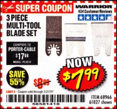 Harbor Freight Coupon 3 PIECE MULTI-TOOL BLADE SET Lot No. 61827/65979/68966 Expired: 3/31/20 - $7.99