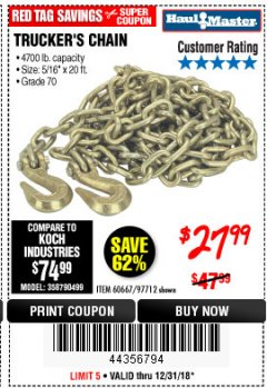 "Harbor Freight Coupon 5/16"" x 20 FT. GRADE 70 TRUCKER'S CHAIN Lot No. 60667/97712 Expired: 12/31/18 - $27.99"