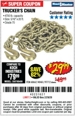 "Harbor Freight Coupon 5/16"" x 20 FT. GRADE 70 TRUCKER'S CHAIN Lot No. 60667/97712 Expired: 1/29/20 - $29.99"