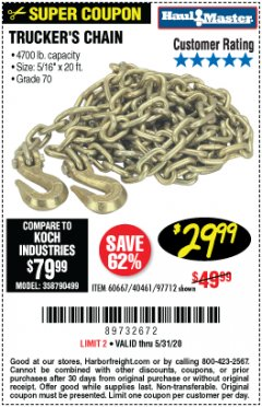 "Harbor Freight Coupon 5/16"" x 20 FT. GRADE 70 TRUCKER'S CHAIN Lot No. 60667/97712 Expired: 6/30/20 - $29.99"