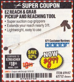 Harbor Freight Coupon EZ REACH AND GRAB PICKUP AND REACHING TOOL Lot No. 62752/69447 Expired: 10/31/19 - $8.99