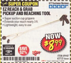 Harbor Freight Coupon EZ REACH AND GRAB PICKUP AND REACHING TOOL Lot No. 62752/69447 Expired: 11/30/19 - $8.99