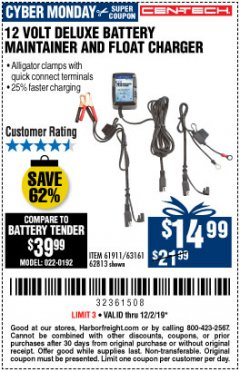 Harbor Freight Coupon 12 VOLT DELUXE BATTERY MAINTAINER AND FLOAT CHARGER Lot No. 61911 Expired: 12/2/19 - $13.99
