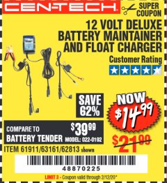Harbor Freight Coupon 12 VOLT DELUXE BATTERY MAINTAINER AND FLOAT CHARGER Lot No. 61911 Expired: 2/12/20 - $14.99