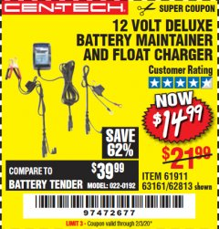 Harbor Freight Coupon 12 VOLT DELUXE BATTERY MAINTAINER AND FLOAT CHARGER Lot No. 61911 Expired: 2/3/20 - $14.99