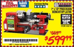 "Harbor Freight Coupon 7"" x 10"" PRECISION LATHE Lot No. 93212 Expired: 3/7/20 - $599.99"