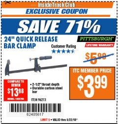 "Harbor Freight ITC Coupon 24"" QUICK RELEASE BAR CLAMP Lot No. 96213 Expired: 5/22/18 - $3.99"
