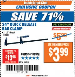 "Harbor Freight ITC Coupon 24"" QUICK RELEASE BAR CLAMP Lot No. 96213 Expired: 10/23/18 - $3.99"