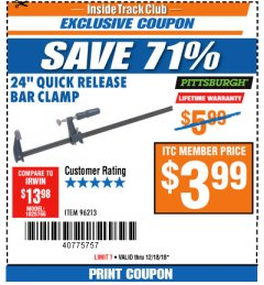 "Harbor Freight ITC Coupon 24"" QUICK RELEASE BAR CLAMP Lot No. 96213 Expired: 12/18/18 - $3.99"